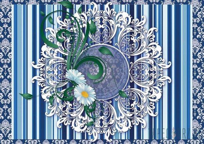 Fototapeta Ażurowy wzór na niebieskim tle 2523