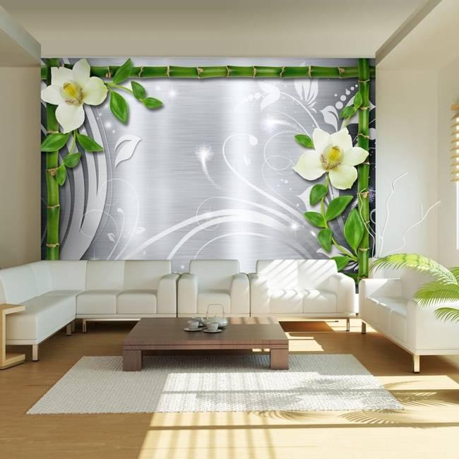 Fototapeta - Bambus i dwie orchidee