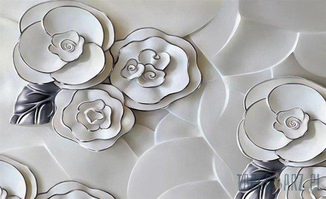 Fototapeta Biało-szare kwiaty z porcelany 3696