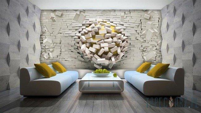Fototapeta Cegły 3d - żółty 3007