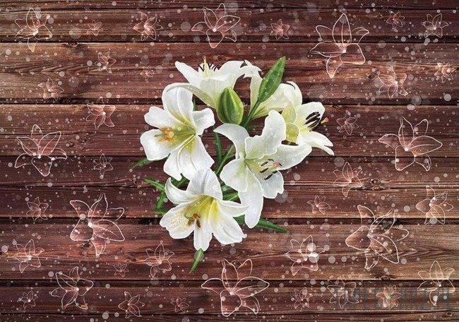 Fototapeta Kwiaty i brązowe deski 3578