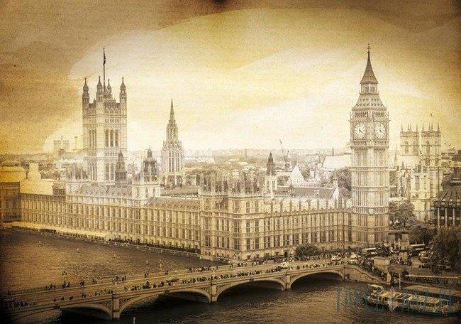Fototapeta Londyn Westminster - Vintage sepia 3589