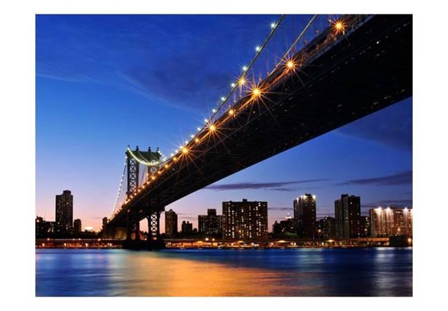 Fototapeta - Oświetlony Most Manhattan Bridge