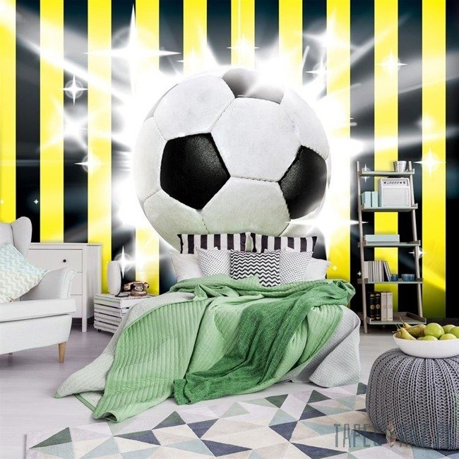 Fototapeta Piłka nożna na żółto-czarnym tle 474
