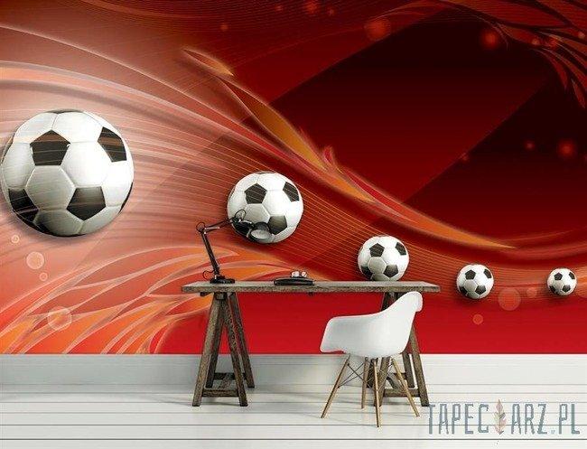 Fototapeta Piłki nożne na czerwonym tle 3386