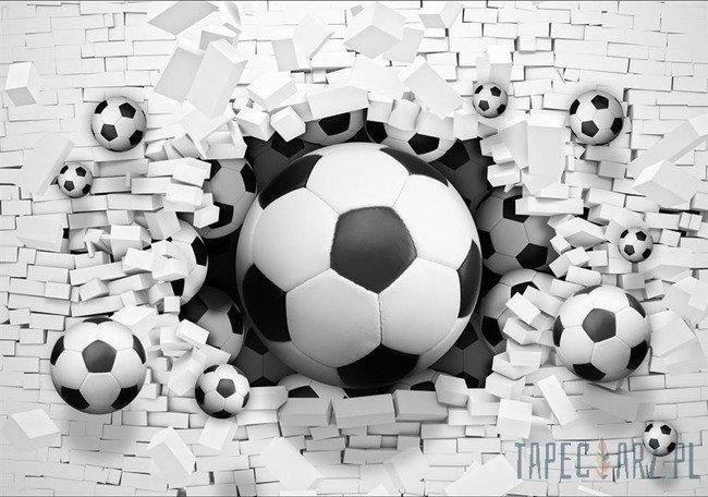 Fototapeta Piłki nożne w ceglanej ścianie 3D 3383