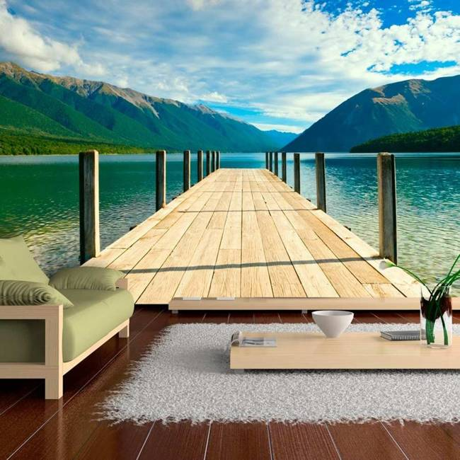 Fototapeta - Pomost na górskim jeziorze