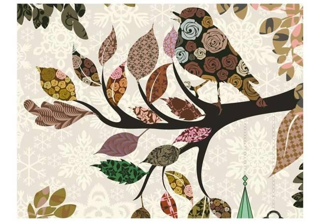 Fototapeta - Ptaszek na gałęzi (patchwork)
