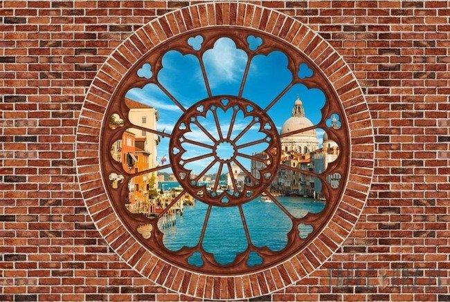 Fototapeta Wenecja - czerwona cegła okno 2180