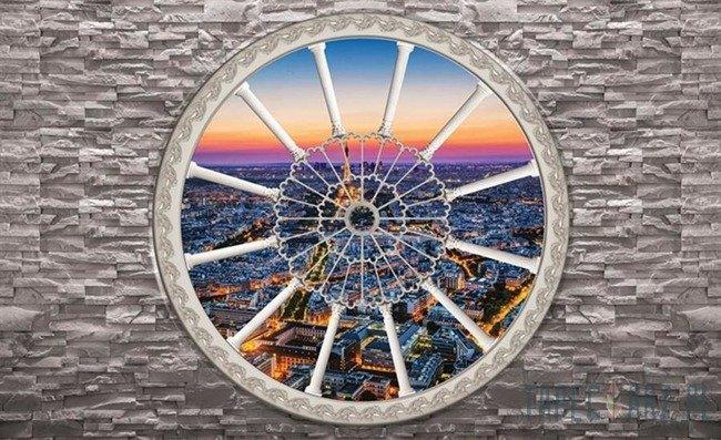 Fototapeta Widok przez okno na Paryż 2093