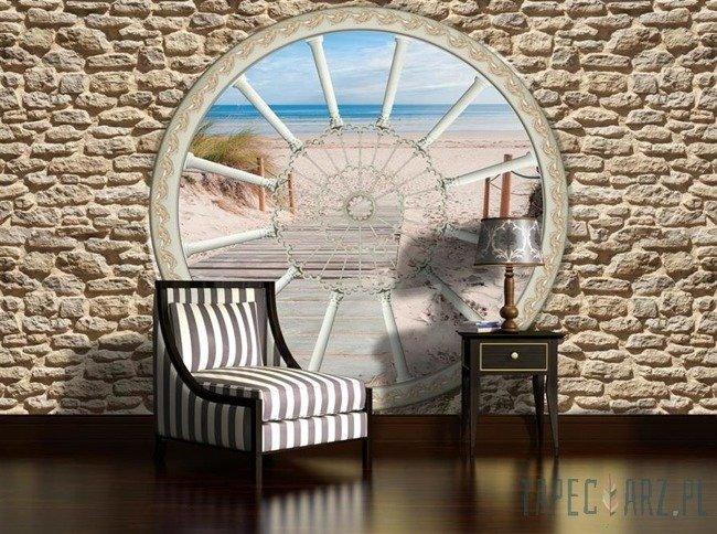 Fototapeta Widok przez okno na zejście na plażę 2091