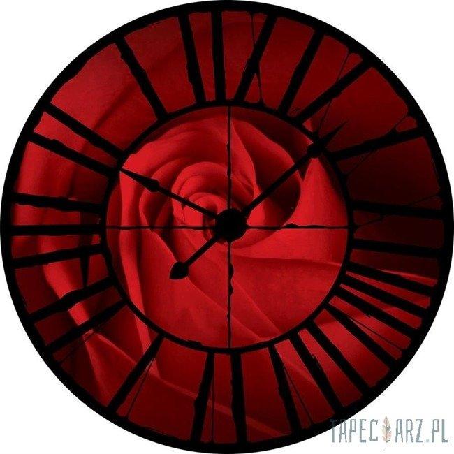 Fototapeta Widok przez zegar na czerwoną różę 10151