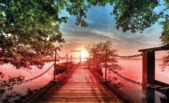 Fototapeta Widok z kładki na zatokę o zachodzie słońca 2224