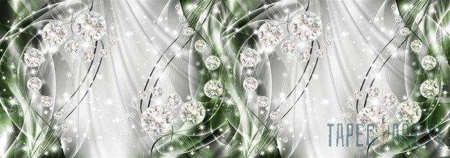 Fototapeta na flizelinie Abstrakcja, diamenty, srebro i zieleń 10405VEE