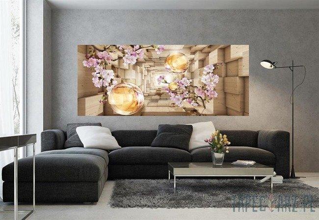 Fototapeta na flizelinie Drewniany korytarz z kulami i kwiatami 3347VEP