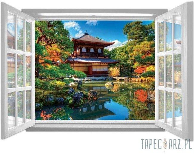 Fototapeta na flizelinie Ogród japoński przez otwarte białe okno 1063