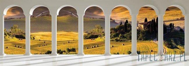 Fototapeta na flizelinie Widok przez kolumny na toskańskie wzgórza 2680VEE
