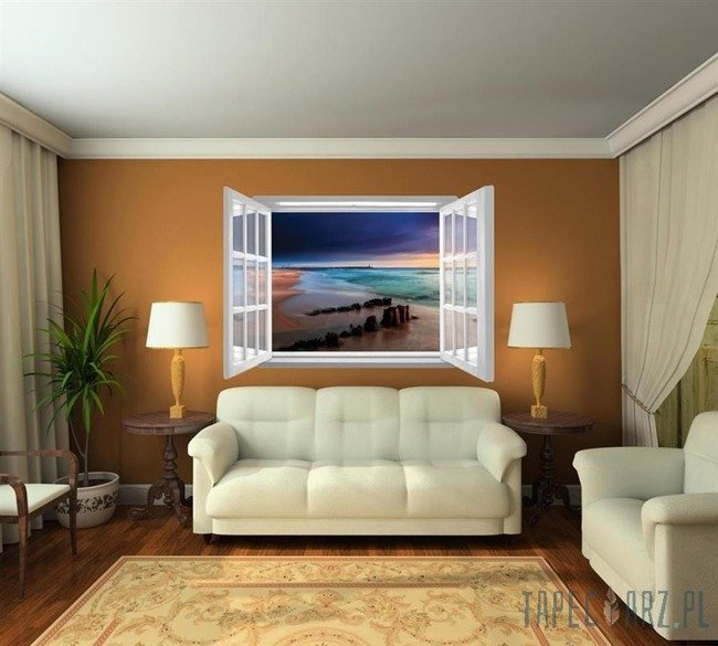 Fototapeta na flizelinie Zmierzch na plaży przez otwarte białe okno 1060