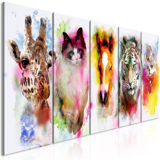 Obraz - Akwarelowe zwierzęta (5-częściowy) wąski