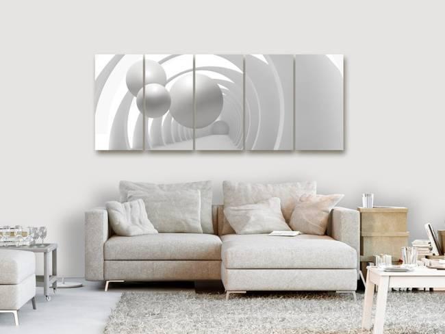 Obraz - Biały tunel (5-częściowy) wąski