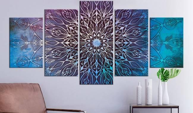 Obraz - Centrum (5-częściowy) szeroki niebieski