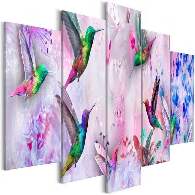 Obraz - Kolorowe kolibry (5-częściowy) szeroki fioletowy