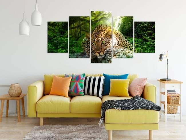 Obraz - Leżący lampart (5-częsciowy) szeroki zielony