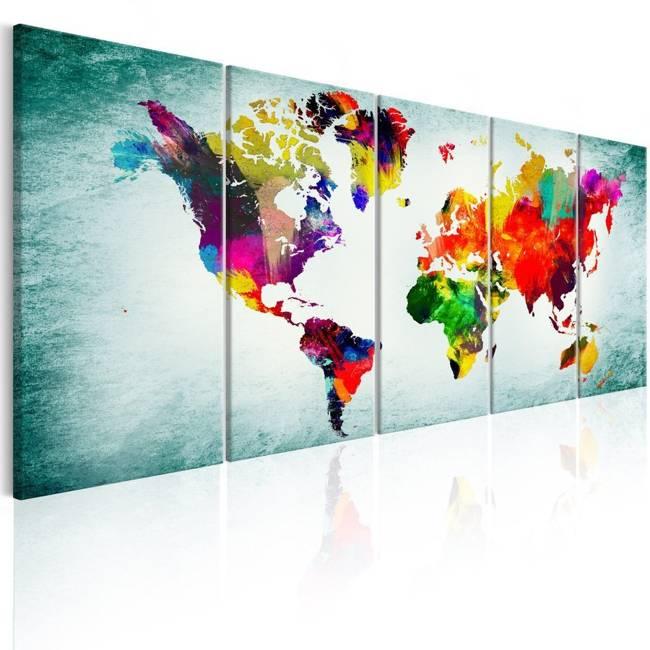 Obraz - Mapa świata: zielona winieta