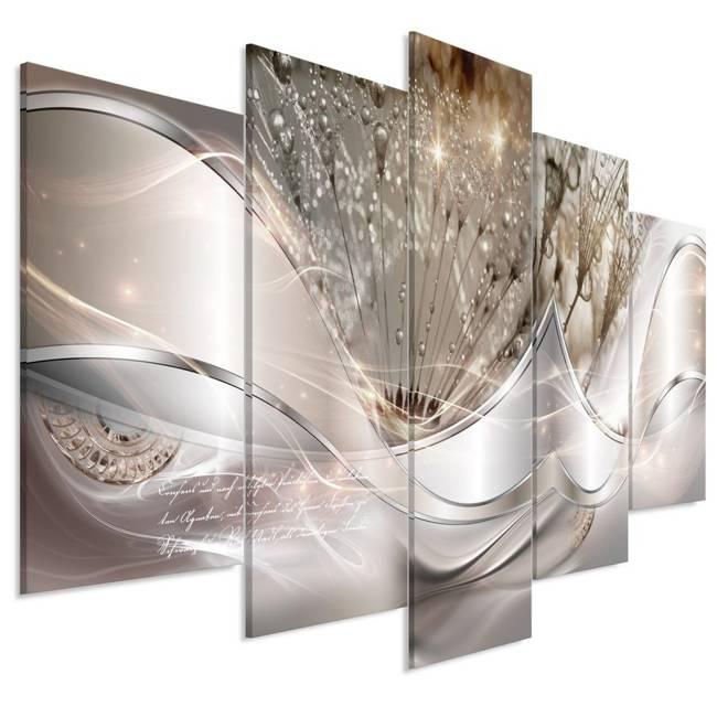 Obraz - Nowoczesne dmuchawce (5-częściowy) beżowy szeroki