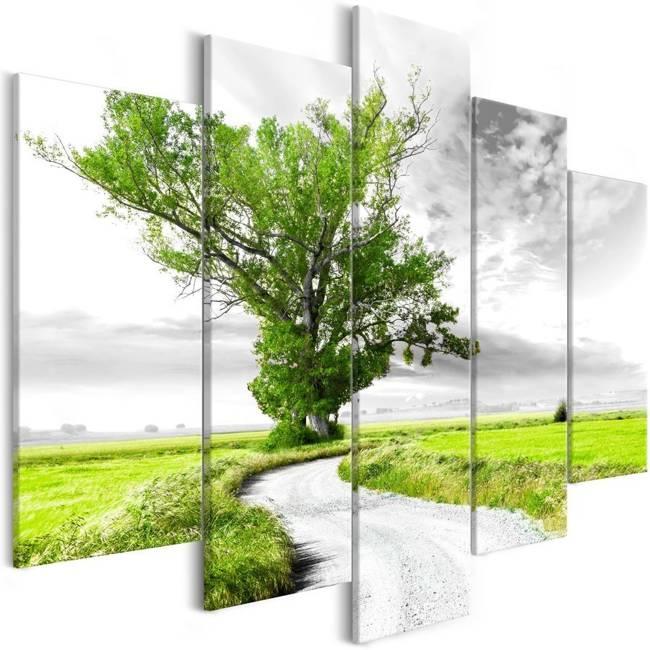 Obraz - Samotne Drzewo (5-częsciowy) zielony