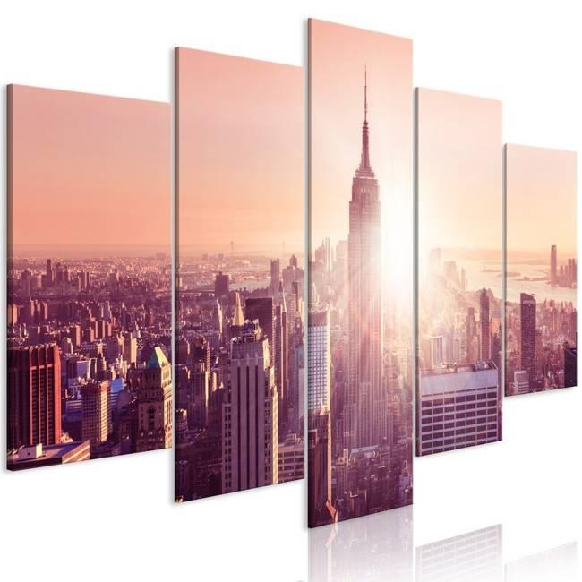 Obraz - Słońce nad Manhattanem (5-częściowy) szeroki pomarańczowy
