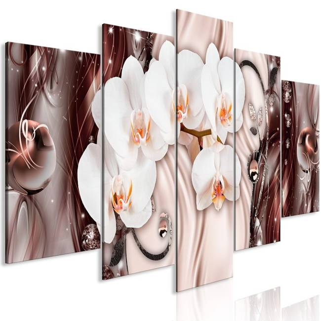 Obraz - Wodospad orchidei (5-częściowy) szeroki różowy