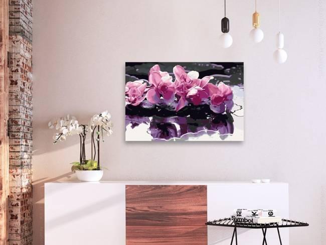 Obraz do samodzielnego malowania - Fioletowa orchidea