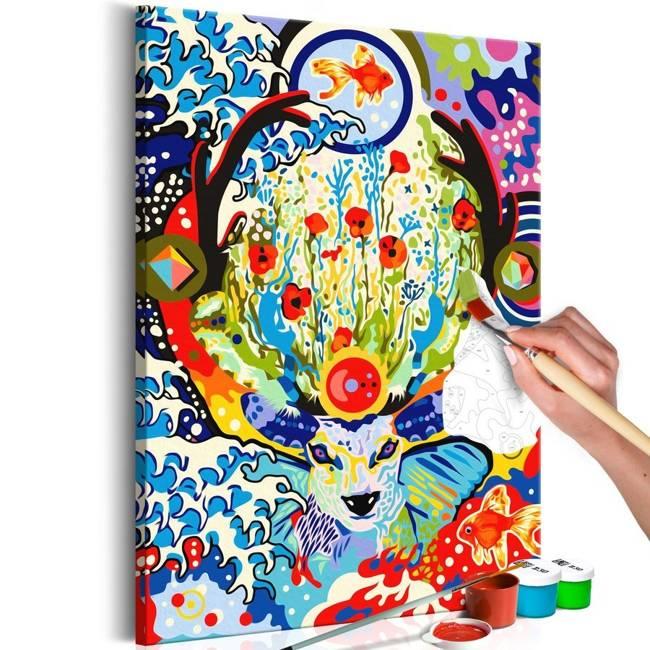 Obraz do samodzielnego malowania - Jeleń i kwiaty