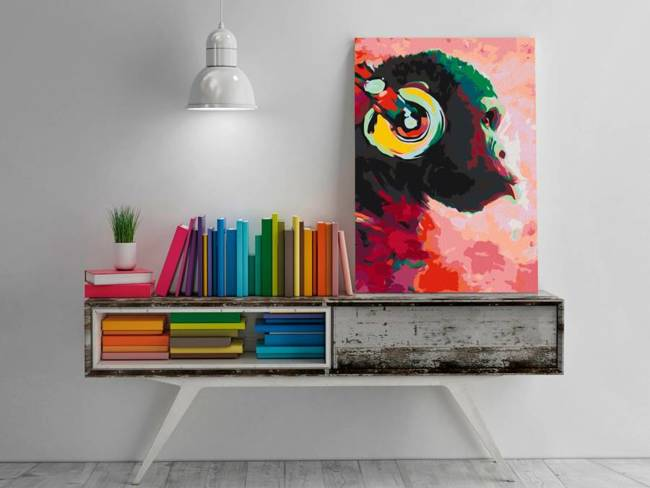 Obraz do samodzielnego malowania - Małpa w słuchawkach