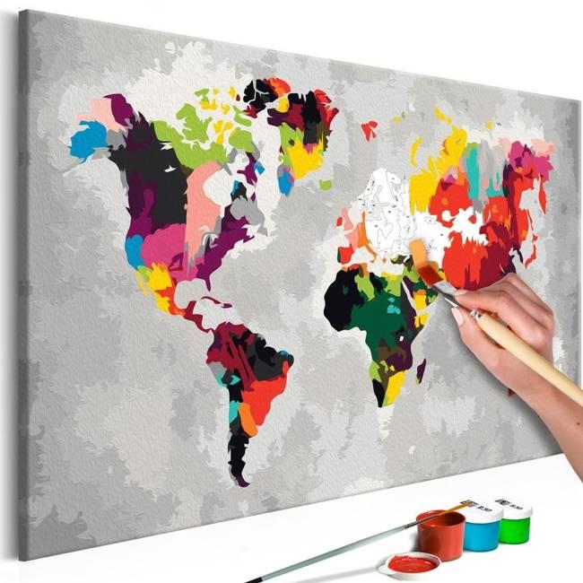 Obraz do samodzielnego malowania - Mapa świata (jaskrawe kolory)