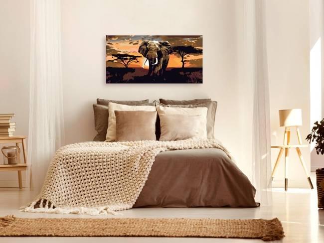 Obraz do samodzielnego malowania - Słoń w Afryce (brązy)