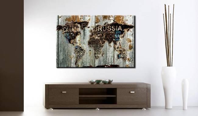 Obraz na korku - Drewniana granica [Mapa korkowa]
