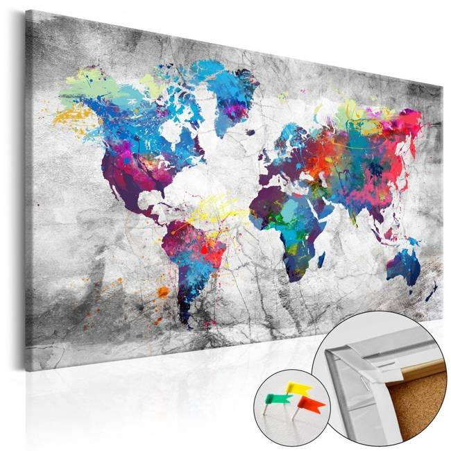 Obraz na korku - Mapa świata: Szary styl [Mapa korkowa]