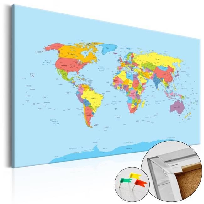 Obraz na korku - Tęczowa geografia [Mapa korkowa]