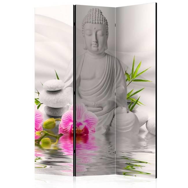 Parawan 3-częściowy - Budda i orchidee [Room Dividers]