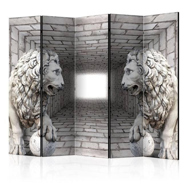 Parawan 5-częściowy - Kamienne lwy II [Room Dividers]