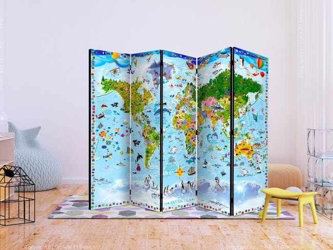 Parawan 5-częściowy - Mapa świata dla dzieci II [Room Dividers]