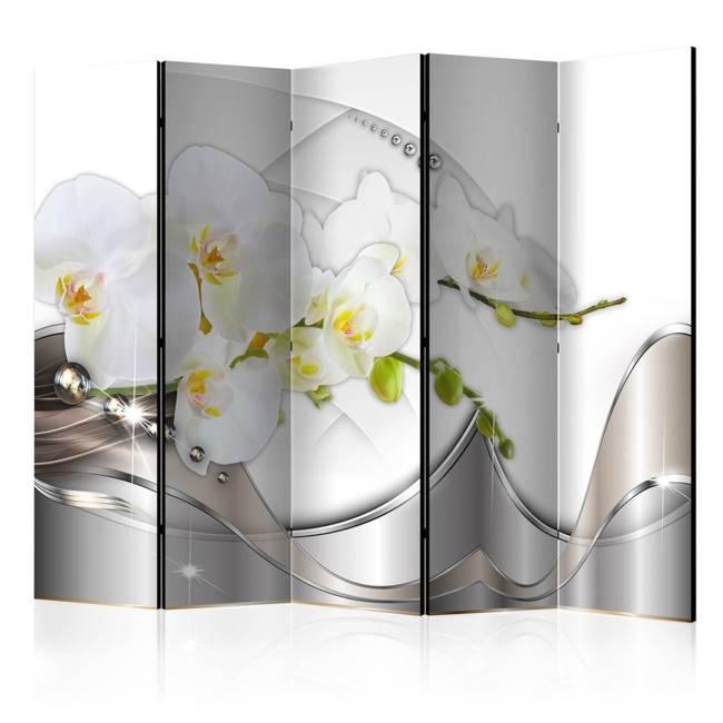 Parawan 5-częściowy - Perłowy taniec orchidei II [Room Dividers]