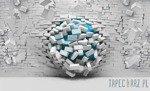 Fototapeta Cegły 3d - niebieski 3006